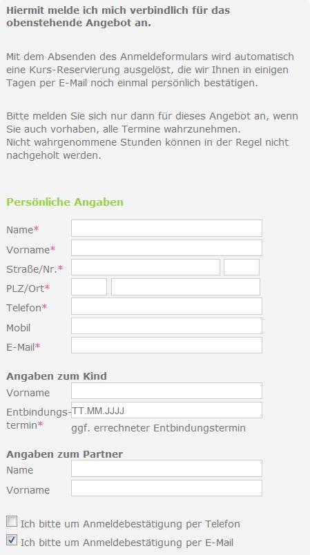 Online.Anmeldeformular